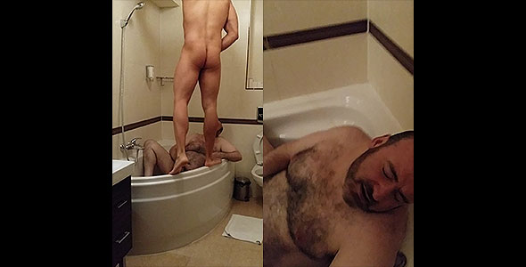 disgusting fagg gets piss and spit in mouth