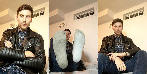 My big feet and leather jacket