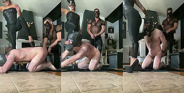 Slave to dog play and chastity